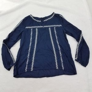 Sanctuary Women's Embroidered Peasant Top Blue 3/4